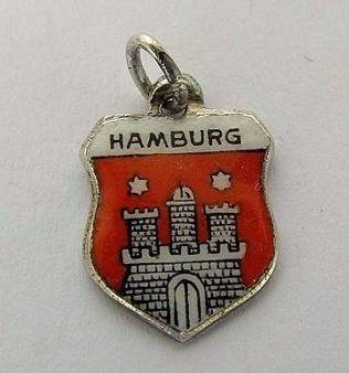 Silver & Enamel Travel Shield Bracelet Charm, Hamburg, Germany