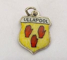 Silver & Enamel Travel Shield Bracelet Charm, Ullapool, Scotland, 1960s / 1970s