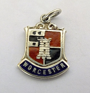 Silver & Enamel Travel Shield Bracelet Charm, Worcester