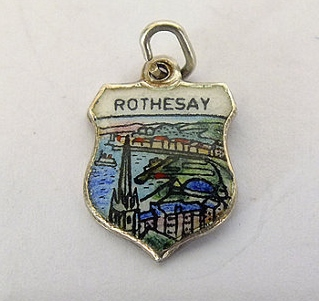 Silver & Enamel Travel Shield Bracelet Charm, Rothesay, Scotland,