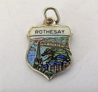 Silver & Enamel Travel Shield Bracelet Charm, Rothesay, Scotland,