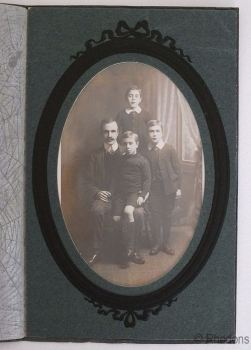 Original Photo Postcard, Group Portrait, Father & Sons
