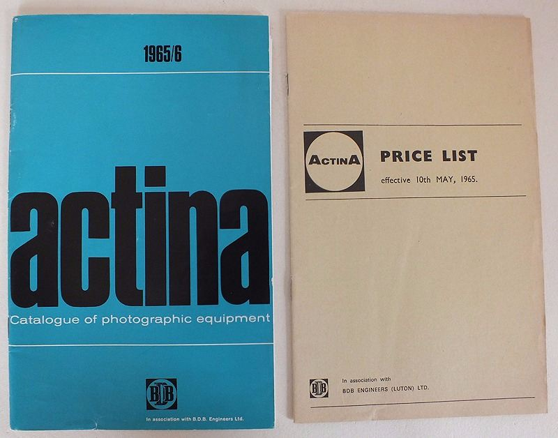 Actina Photographic Equipment Catalogue & Price List For 1965/66