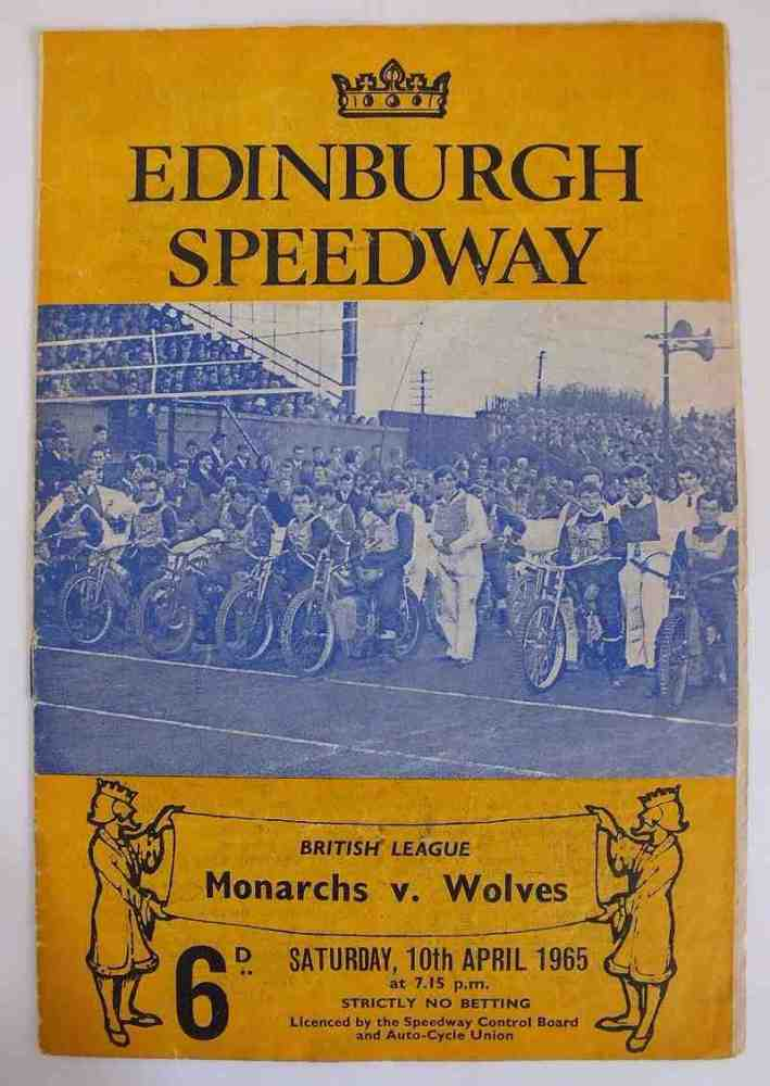 Edinburgh Speedway Programme, British League, Monarchs v Wolves, April 10 1965