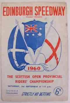 Edinburgh Speedway Programme, Sept 3 1960 Scottish Open Provincial Riders Championship
