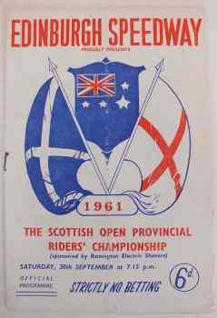 Edinburgh Speedway Programme, Scottish Open Provincial Riders Championship, September 30 1961