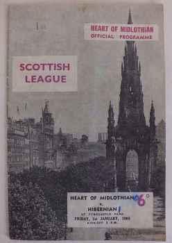 Original Scottish League Football Programme for Hearts v Hibernian Match Date January 1 1965