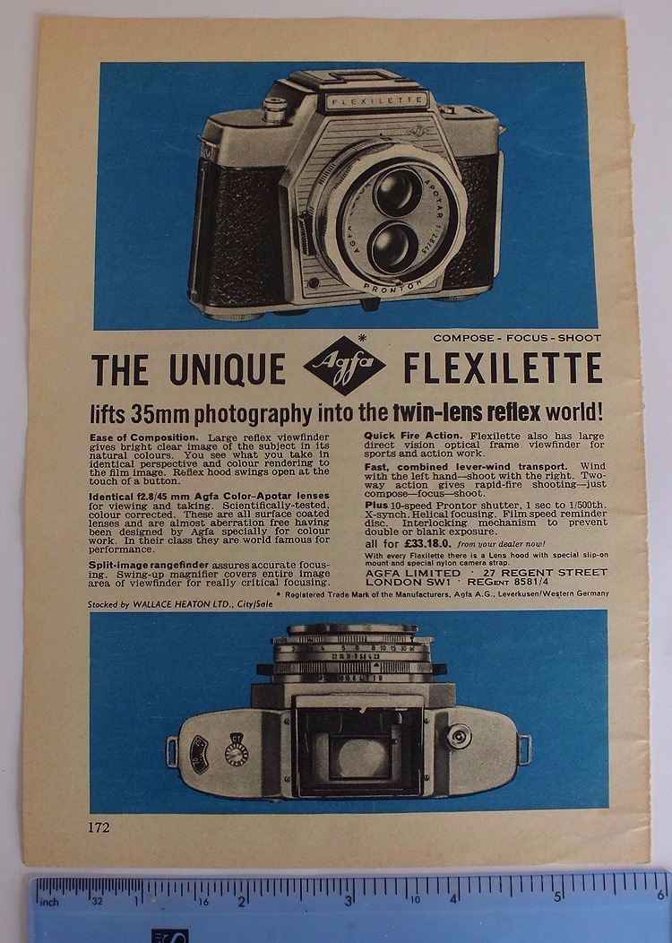 Agfa Flexilette Twin Lens Relex 35mm Camera, 1960/70s Advertising