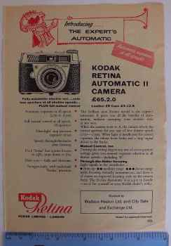 Kodak Retina Automatic II Camera, 1960/70s Photographic Magazine Advertising