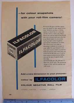 Ilfacolor Photographic Roll Film, 1960/70s Advertising