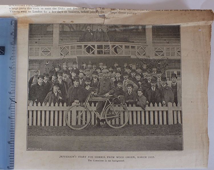 Victorian Newspaper Photo: Start of Jefferson's Cycle Ride To Siberia From Wood Green March 21st 1896