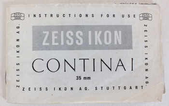 Zeiss Ikon Contina I 35mm Camera User Manual, Original