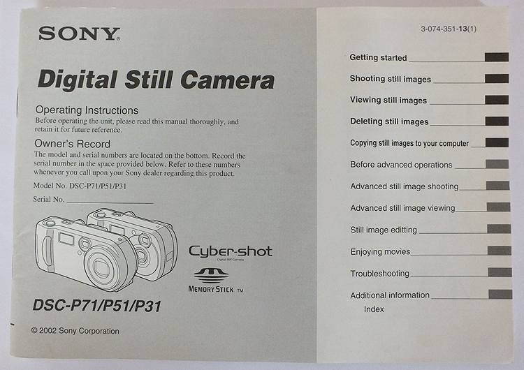 Sony Digital Still Camera DSC-P71/P51/P31 User Operating Instruction Manual