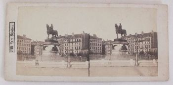 Victorian Stereoview Photo, Lyon France, Place Napoleon, Circa 1880s