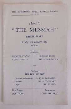 Edinburgh Royal Choral Union, Handels 'The Messiah'  Usher Hall 1st January 1954