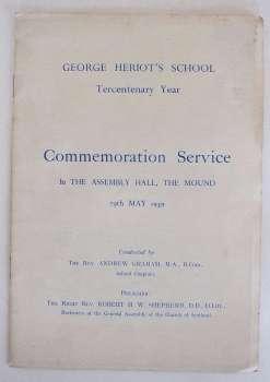 George Heriot's School Tecentenary Commemoration Service 29 May 1959