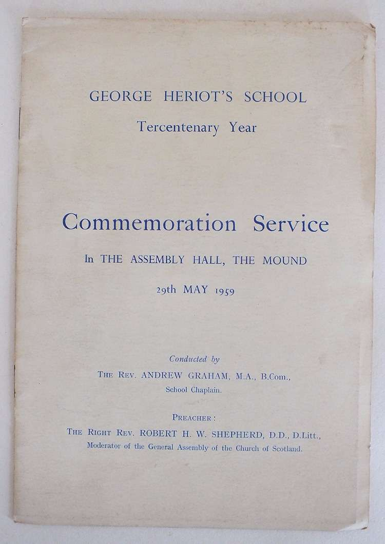 George Heriot's School Tercentenary Commemoration Service 29 May 1959