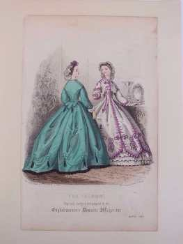 The Fashions, Fashion Advertisment Plate, From The Englishwoman's Domestic Magazine, March 1864