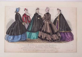 Early Victorian Fashion Magazine Print, Winter Cloaks And Mantles, October 1863