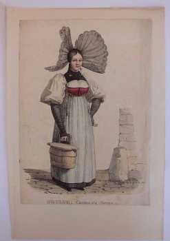Swiss Costume Print, Suisse Canton de Berne, 19th Century Fashion