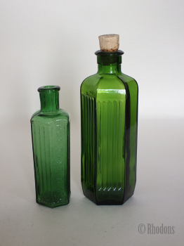 Antique Poison Bottles x2, Hexagonal Part Ribbed Green Glass