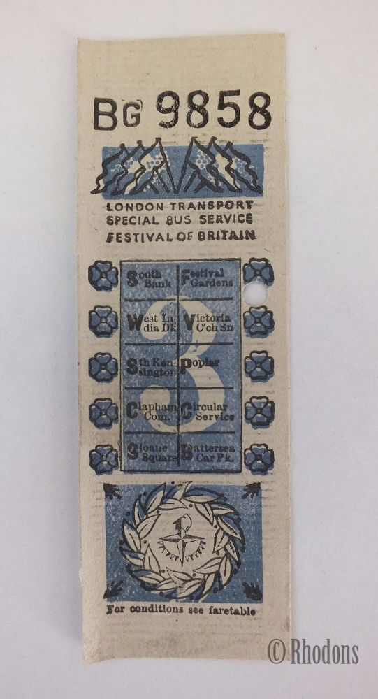 1951 Festival Of Britain, London Transport Special Bus Service Ticket