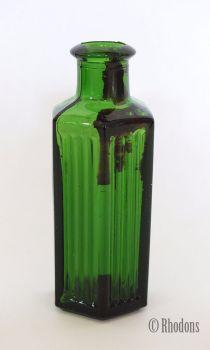 Antique Green Glass Apothecary Hexagonal Poison Bottle, 8.50cm