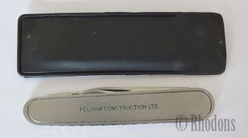 Twin Blade Pocket Knife, Advertising For Pelham Construction