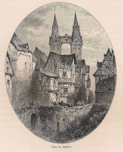 View in Boppart, The Rhineland, Germany. Antique Print