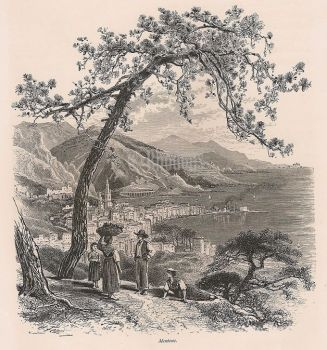 Mentone / Menton, France. From A Drawing By Harry Fenn