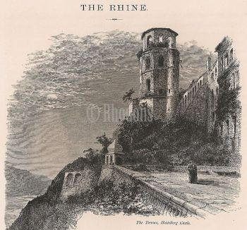 The Terrace, Heidelberg Castle, Rhineland, Germany. Antique Print