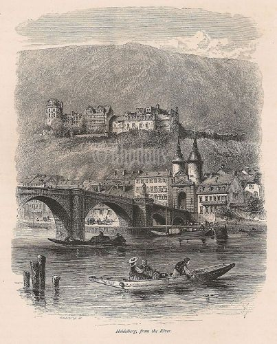 Germany, Rhineland - View Of Heidelberg From River, Antique Print