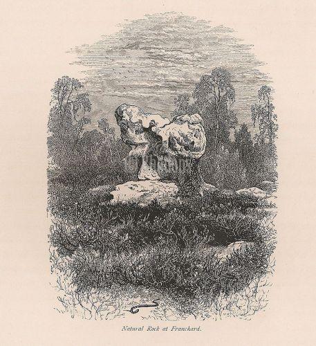 France, Fontainebleau Forest, Natural Rock At Franchard, Antique Print