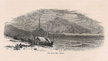 Italy, The Coast Near Genoa, 19th Century Engraving Print Recovered From 'Picturesque Europe'