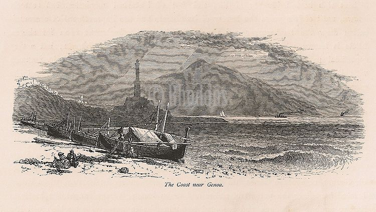 Italy, The Coast Near Genoa. 19th Century Engraving Print