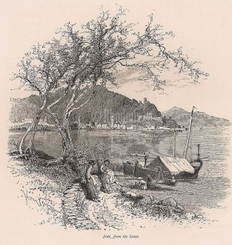 Italy, Liguria, Noli From The Coast - 19th Century Engraving Print