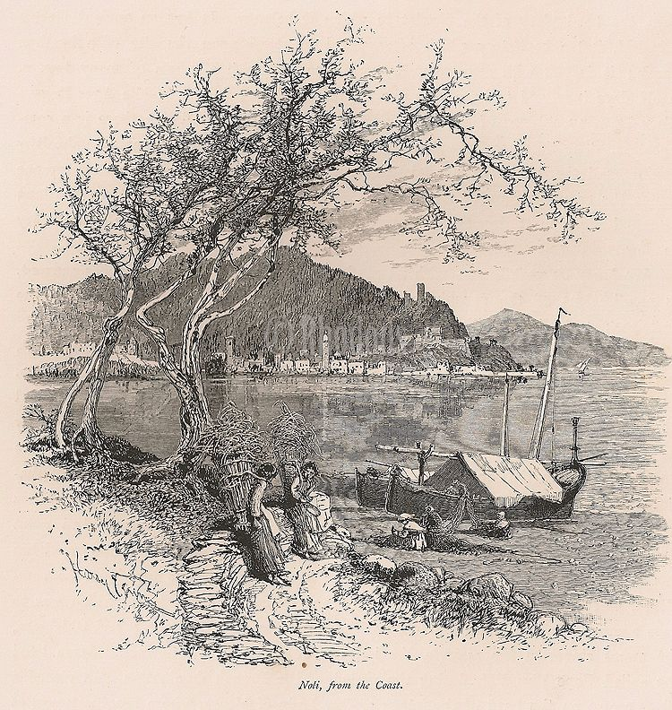Noli From The Coast, Liguria, Italy. 19th Century Engraving Print