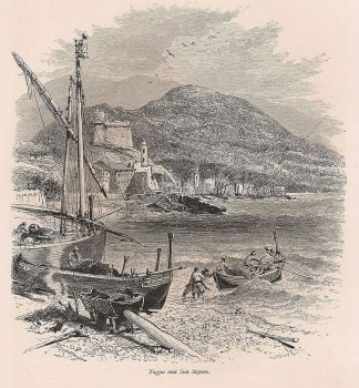 Italy, Liguria, Taggia And San Stefano. 19th Century Engraving Print, Late 1800s