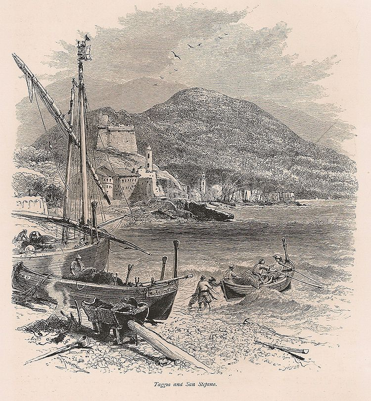 Italy, Liguria, Taggia And San Stefano - 19th Century Engraving Print