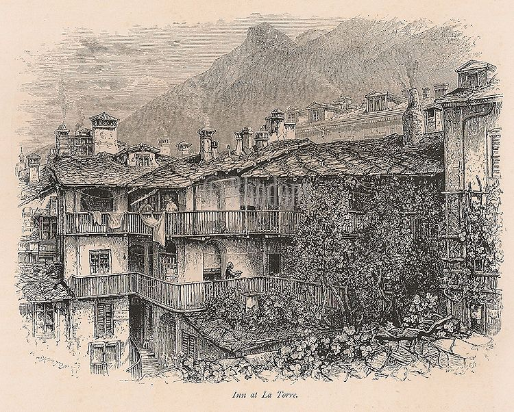 Italy, Inn At La Torre, The Passes Of The Alps, 19th Century Engraving