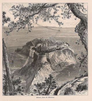 Monaco, 19th Century Engraving Print - View From The Mainland, Harry Fenn