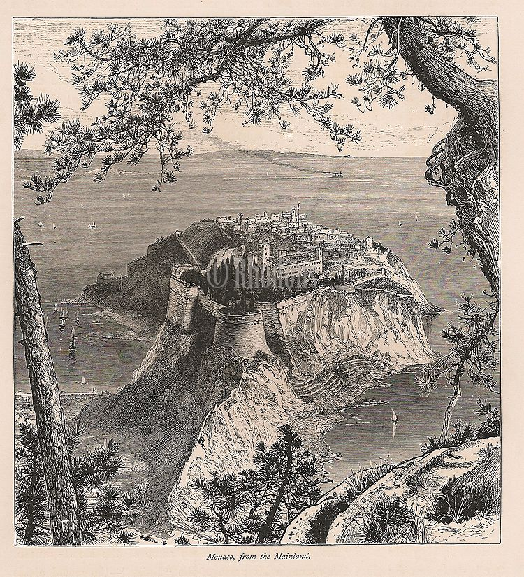 Monaco, View From The Mainland, 19th Century Engraving Print By Harry Fenn