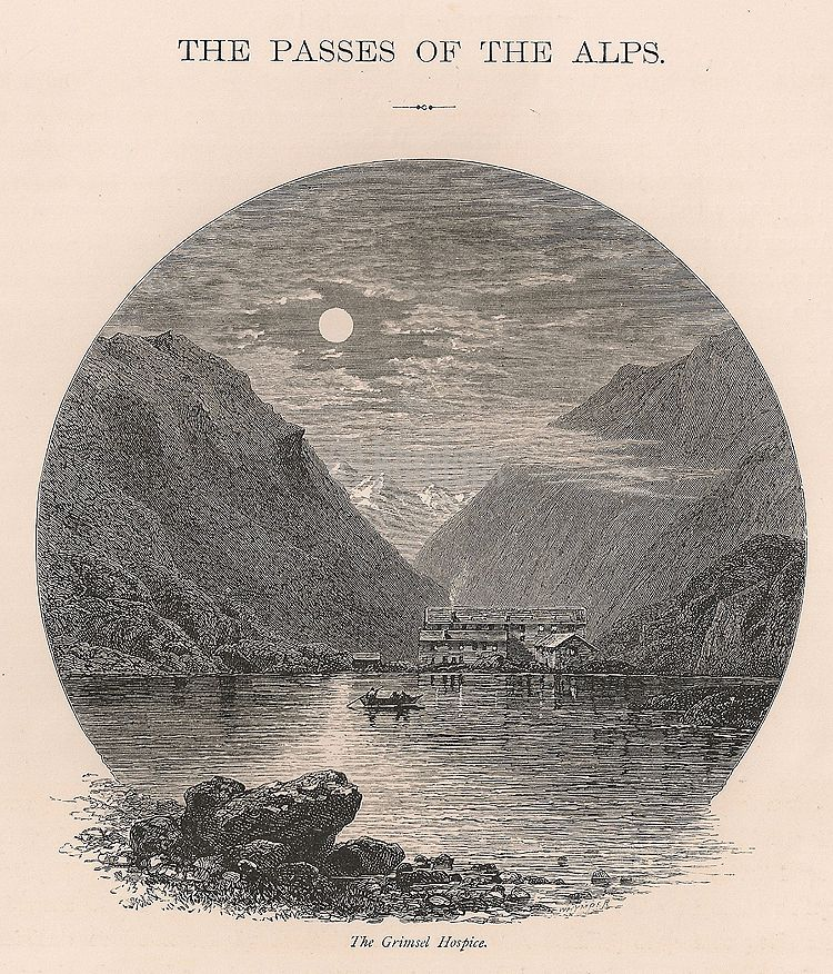Switzerland, Alpine Passes, The Grimsel Hospice, 19th Century Engraving Pri