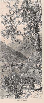 Italy, The Italian Lakes, View Of Torno, Lake Como, Antique Engraving Print, Late 1800s