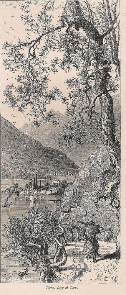 View Of Torno, Lake Como, Italy, The Italian Lakes. Engraving Print, Late 1800s