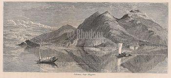 Italy, Italian Lakes - Pallanza, Lago Maggiore, 19th Century Engraving Print