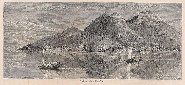 Pallanza, Lago Maggiore, Italian Lakes, Italy. 19th Century Engraving Print