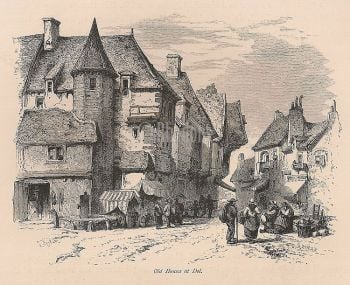 France, Dol De Bretagne, Old Houses At Dol, 19th Century Engraving Print