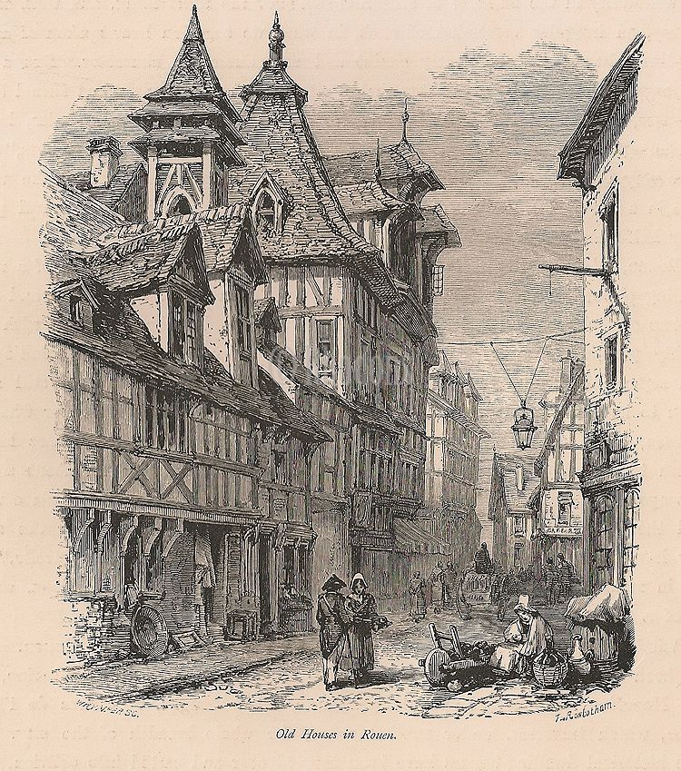 France, Old Houses In Rouen, Antique Print, 19th Century