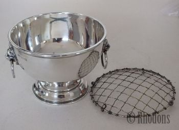 Mappin and Webb Sterling Silver Footed Bowl With Lions Head Handles